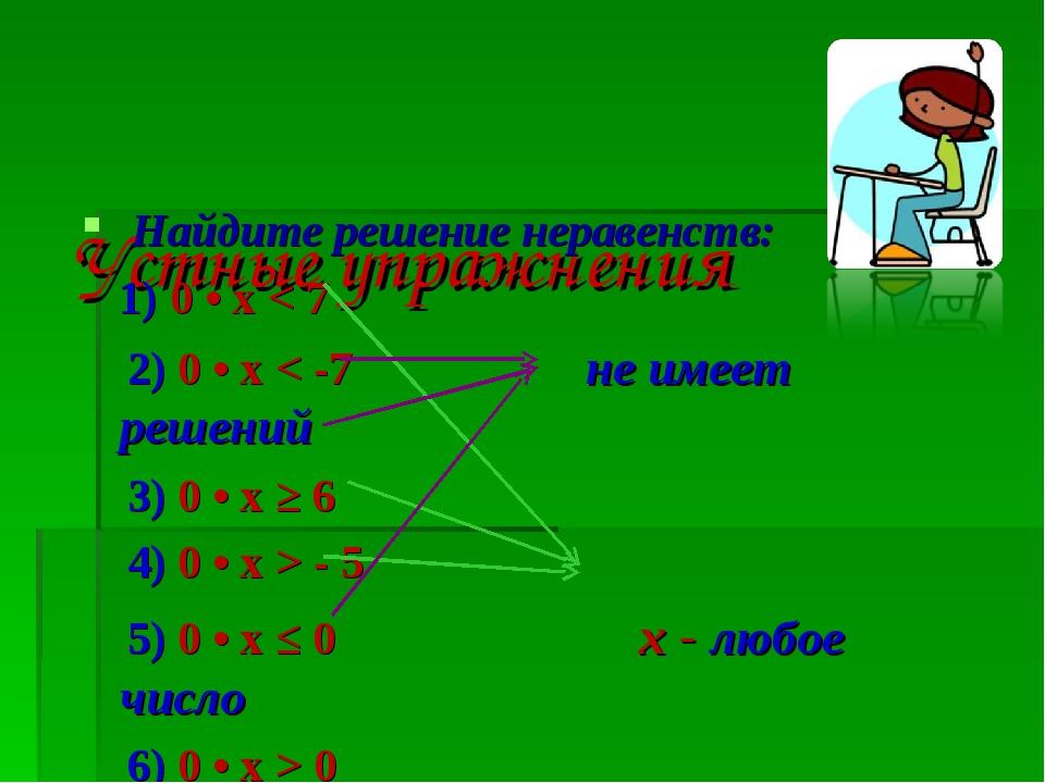 Устные упражнения Найдите решение неравенств: 1) 0 • х < 7 2) 0 • x < -7 не...