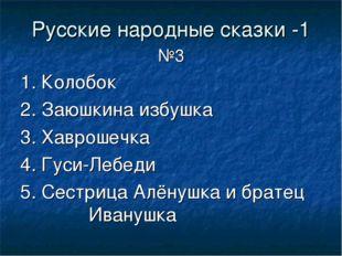 Русские народные сказки -1 №3 1. Колобок 2. Заюшкина избушка 3. Хаврошечка 4.