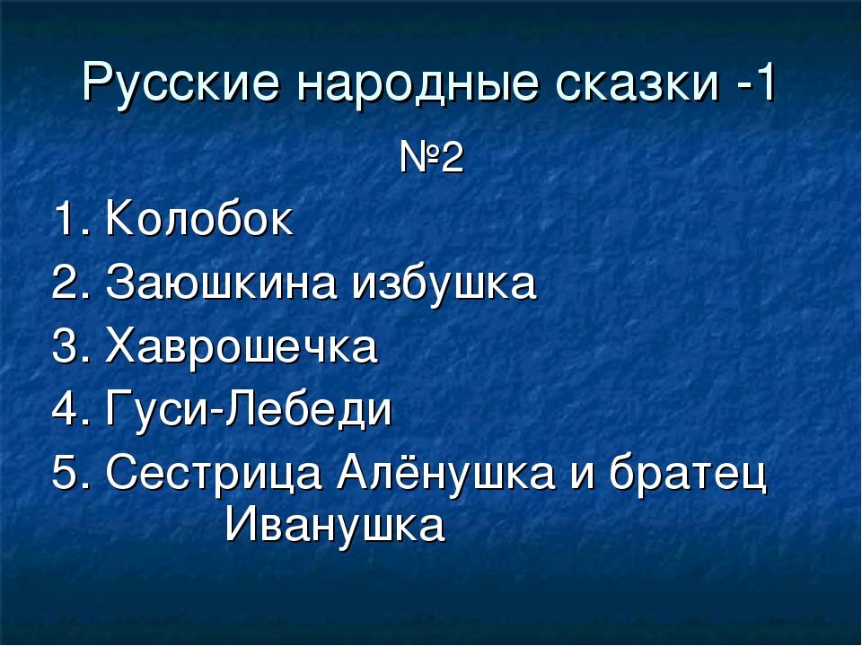 Русские народные сказки -1 №2 1. Колобок 2. Заюшкина избушка 3. Хаврошечка 4....