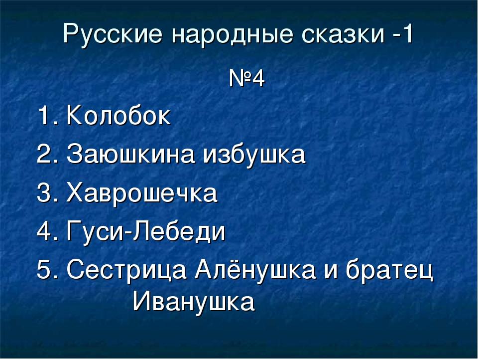 Русские народные сказки -1 №4 1. Колобок 2. Заюшкина избушка 3. Хаврошечка 4....