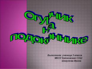 Выполнила: ученица 3 класса МКОУ Катковская СОШ Шикунова Ирина