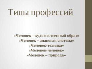 Типы профессий «Человек – художественный образ» «Человек – знаковая система»
