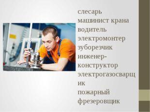 слесарь машинист крана водитель электромонтер зуборезчик инженер-конструктор