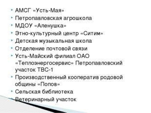 АМСГ «Усть-Мая» Петропавловская агрошкола МДОУ «Аленушка» Этно-культурный цен