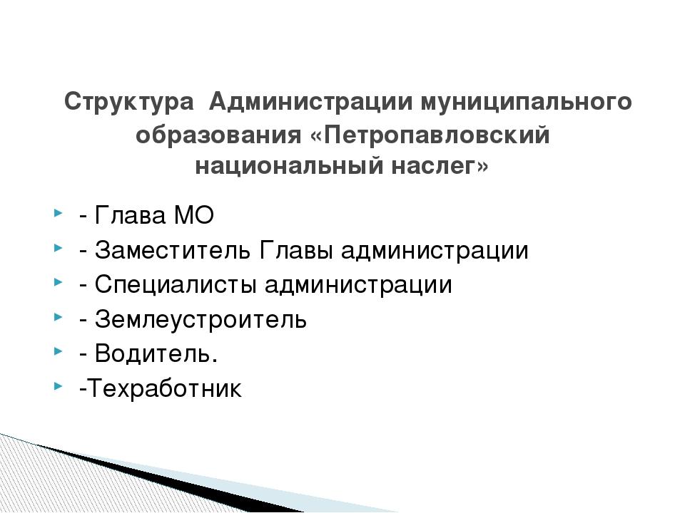 - Глава МО - Заместитель Главы администрации - Специалисты администрации - З...