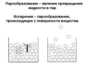 Парообразование – явление превращения жидкости в пар Испарение – парообразов