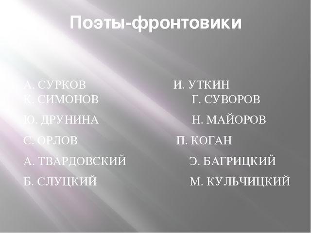 Поэты-фронтовики А. СУРКОВ И. УТКИН К. СИМОНОВ  Г. СУВОРОВ Ю. ДРУНИНА  Н....
