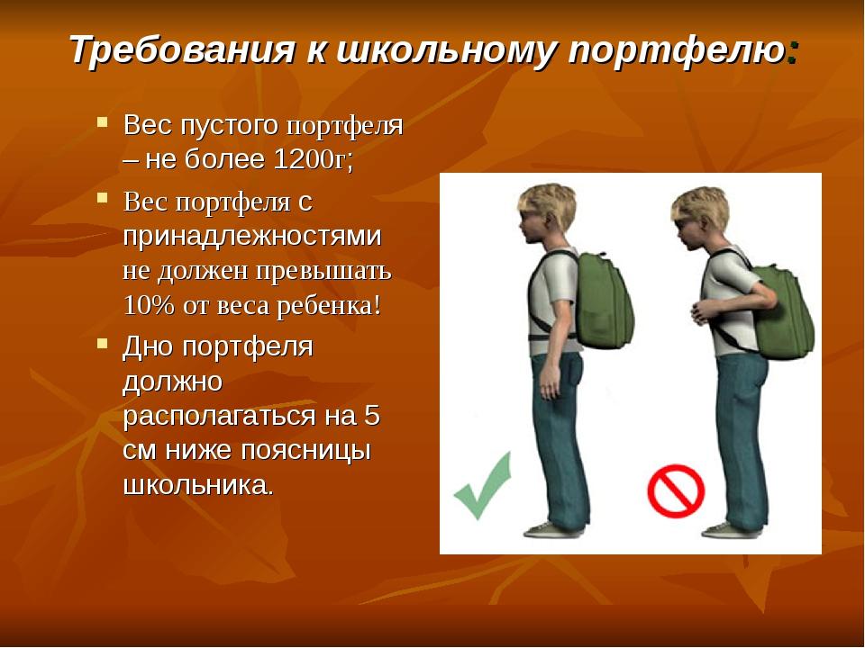 Требования к школьному портфелю: Вес пустого портфеля – не более 1200г; Вес п...