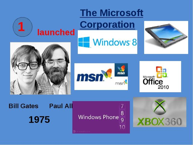 1 launched Bill Gates Paul Allen 1975 The Microsoft Corporation
