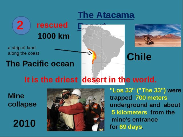 2 rescued The Atacama Desert Chile a strip of land along the coast The Pacifi...