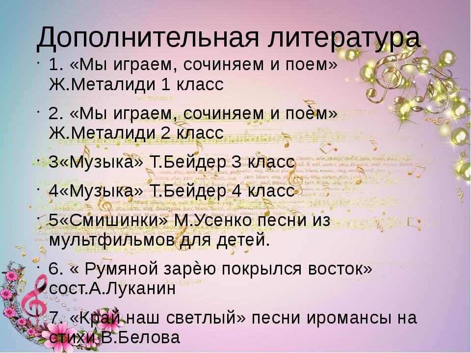 Дополнительная литература 1. «Мы играем, сочиняем и поем» Ж.Металиди 1 класс...