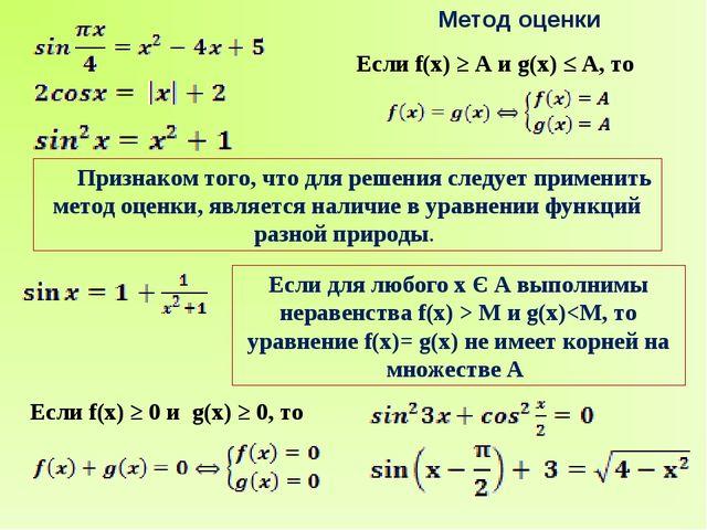 Метод оценки Признаком того, что для решения следует применить метод оценки,...