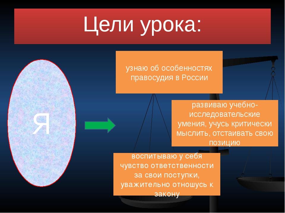 Цели урока: Я узнаю об особенностях правосудия в России развиваю учебно-иссле...