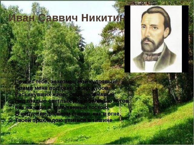 Иван Саввич Никитин Привет тебе, знакомец мой кудрявый! Прими меня под сень т...