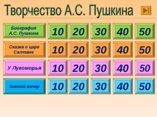 10 30 40 50 20 Биография А.С. Пушкина Сказка о царе Салтане 10 20 30 40 50 У