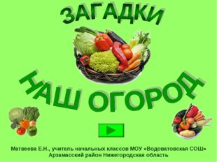 Матвеева Е.Н., учитель начальных классов МОУ «Водоватовская СОШ» Арзамасский