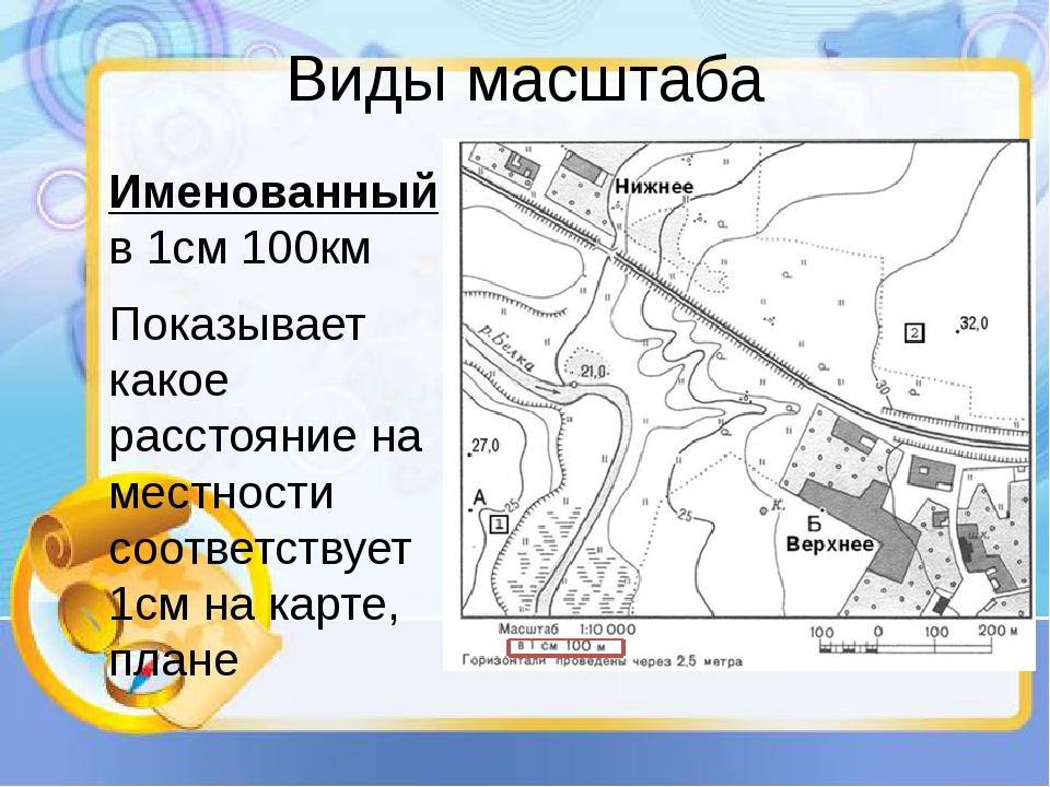 Виды масштаба Именованный: в 1см 100км Показывает какое расстояние на местнос...