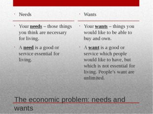 The economic problem: needs and wants Needs Your needs – those things you thi