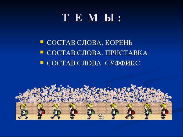 Т Е М Ы : СОСТАВ СЛОВА. КОРЕНЬ СОСТАВ СЛОВА. ПРИСТАВКА СОСТАВ СЛОВА. СУФФИКС