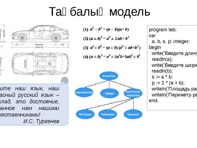 Таңбалық модель program lab; var a, b, s, p: integer; begin write('Введите дл...