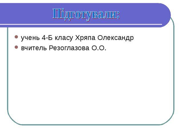 учень 4-Б класу Хряпа Олександр вчитель Резоглазова О.О.