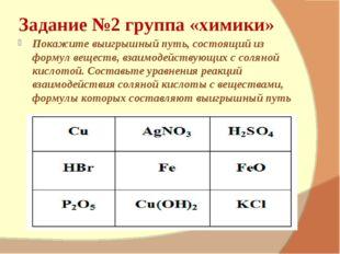 Задание №2 группа «химики» Покажите выигрышный путь, состоящий из формул веще