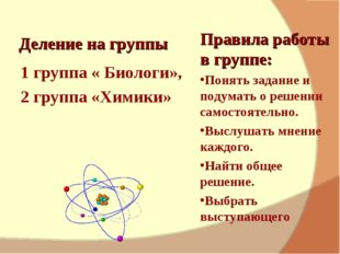 Деление на группы 1 группа « Биологи», 2 группа «Химики» Правила работы в гр