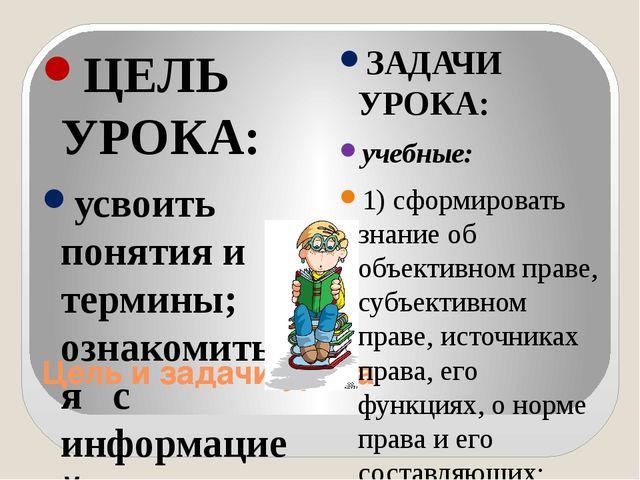Цель и задачи урока ЦЕЛЬ УРОКА: усвоить понятия и термины; ознакомиться с инф...