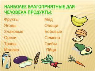 Фрукты Мёд Ягоды Овощи Злаковые Бобовые Орехи Семена Травы Грибы Молоко Яйца