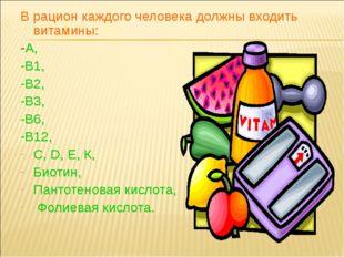 В рацион каждого человека должны входить витамины: -А, -В1, -В2, -В3, -В6, -В