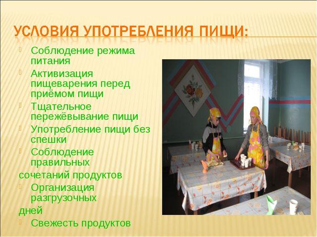 Соблюдение режима питания Активизация пищеварения перед приёмом пищи Тщательн...