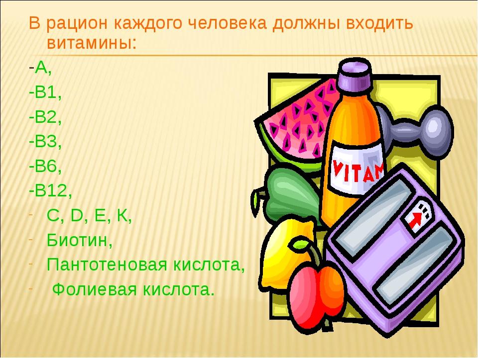 В рацион каждого человека должны входить витамины: -А, -В1, -В2, -В3, -В6, -В...