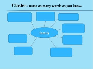 Claster: name as many words as you know. family