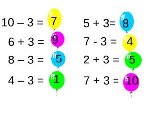 10 – 3 = 6 + 3 = 7 9 8 – 3 = 5 4 – 3 = 1 5 + 3= 7 - 3 = 4 2 + 3 = 5 7 + 3 = 1