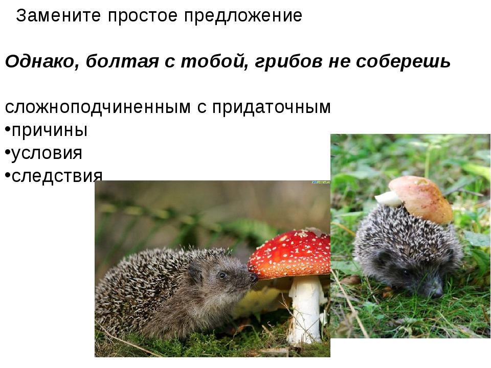 Замените простое предложение Однако, болтая с тобой, грибов не соберешь слож...