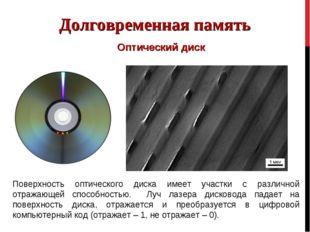 Долговременная память Оптический диск Поверхность оптического диска имеет уча