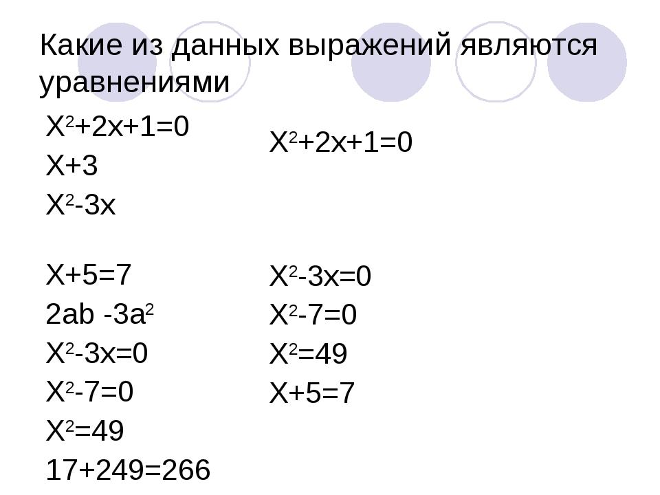 Какие из данных выражений являются уравнениями Х2+2х+1=0 Х+3 Х2-3х Х+5=7 2аb...