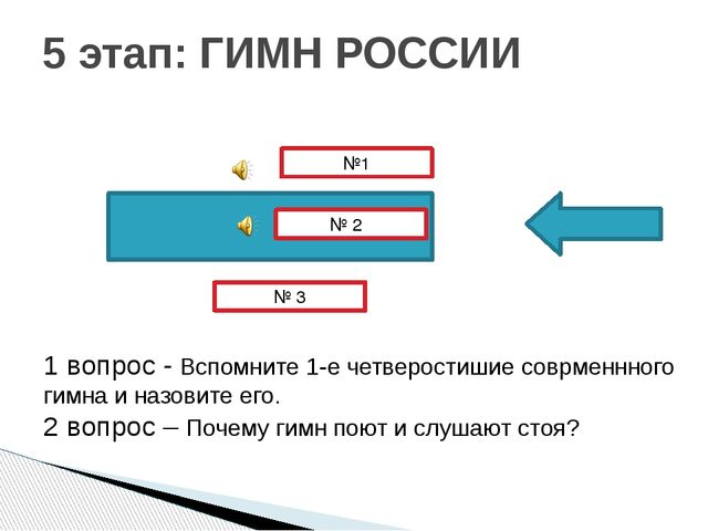 5 этап: ГИМН РОССИИ № 3 № 2 №1 1 вопрос - Вспомните 1-е четверостишие соврме...