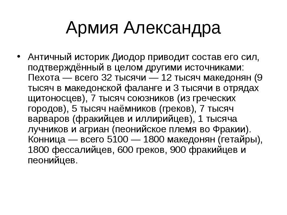 Армия Александра Античный историк Диодор приводит состав его сил, подтверждён...