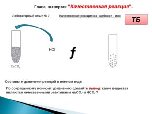 Лабораторный опыт № 7 Качественная реакция накарбонат – ион СaCO3 Глава