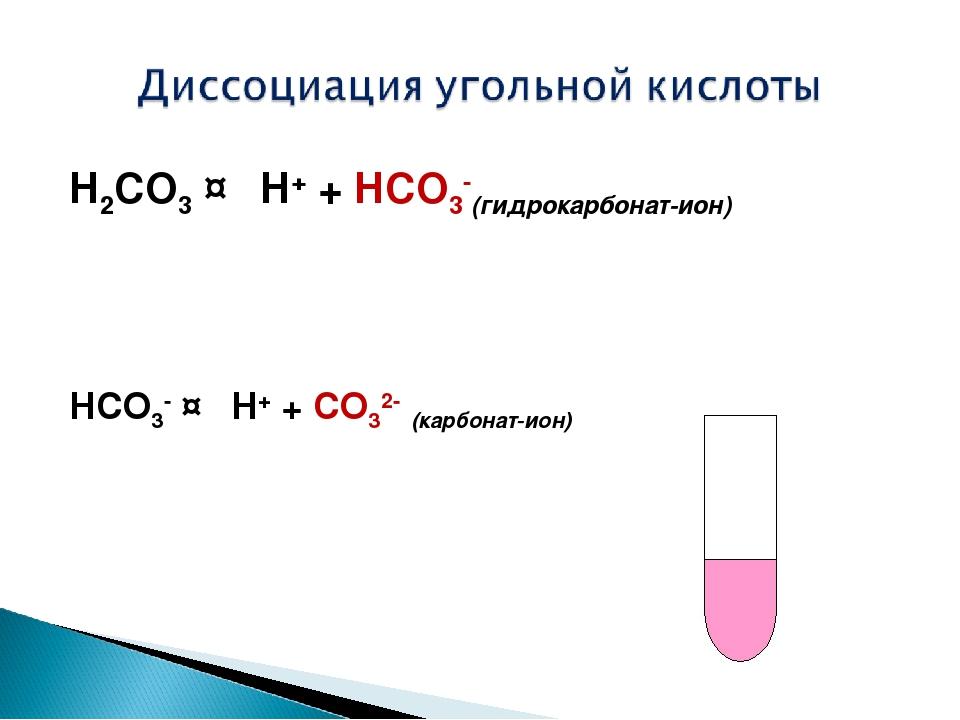 H2CO3↔H++HCO3-(гидрокарбонат-ион) HCO3-↔H++CO32-(карбонат-ион)