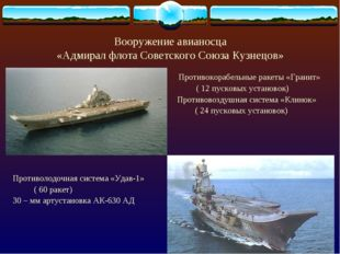 Вооружение авианосца «Адмирал флота Советского Союза Кузнецов» Противокорабел