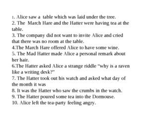 1. Alice saw a table which was laid under the tree. 2. The March Hare and the