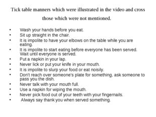 Tick table manners which were illustrated in the video and cross those which