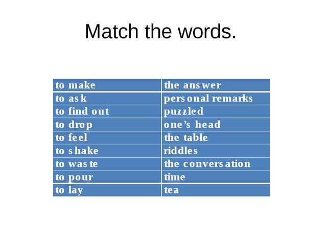 Match the words. to make the answer to ask personal remarks to find outpuz...