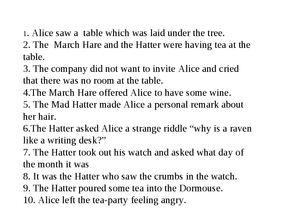 1. Alice saw a table which was laid under the tree. 2. The March Hare and the...
