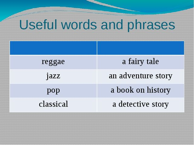 Useful words and phrases reggae a fairy tale jazz an adventure story pop a bo...