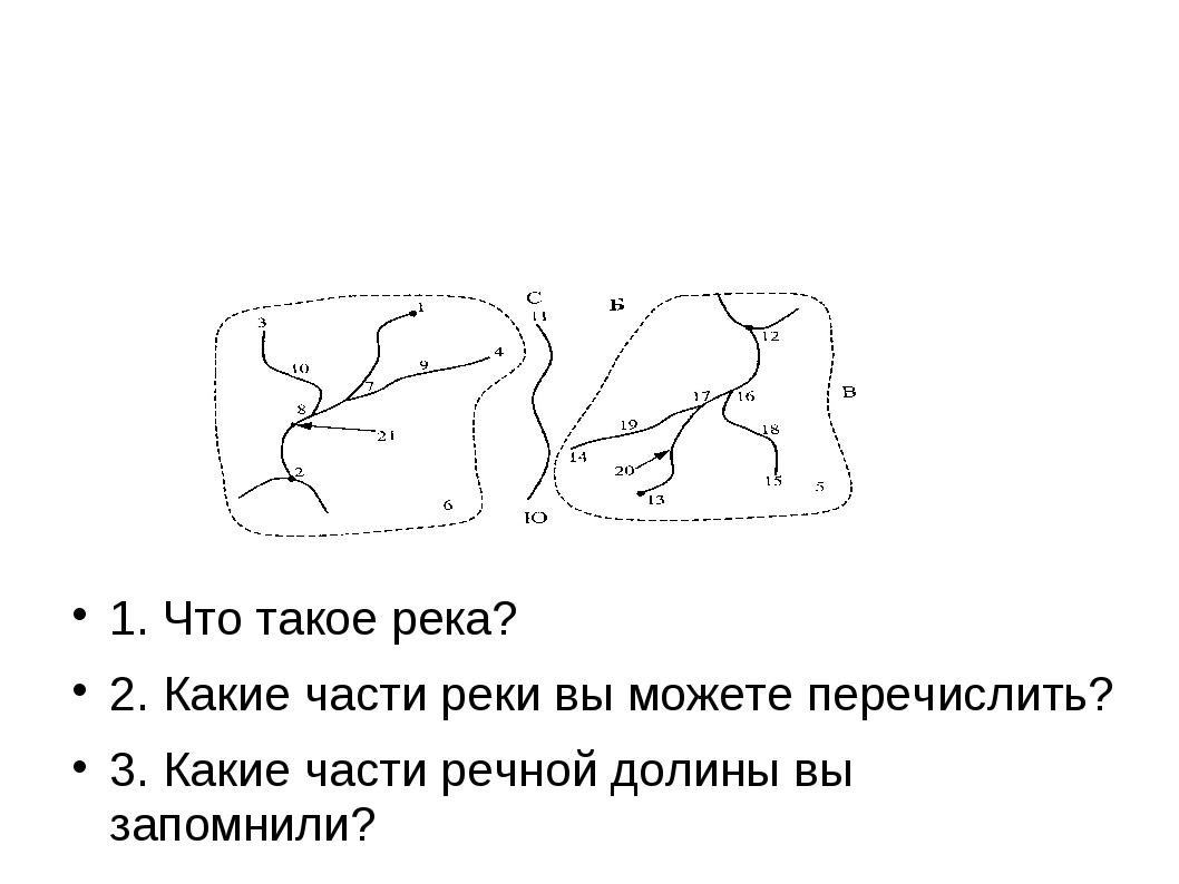 1. Что такое река? 2. Какие части реки вы можете перечислить? 3. Какие части...