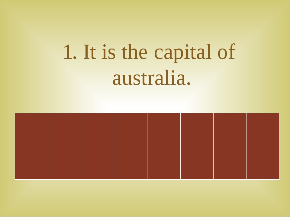 1. It is the capital of australia.