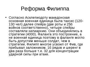 Реформа Филиппа Согласно Асклепиодоту македонская основная военная единица бы